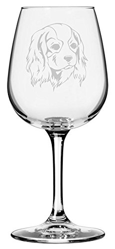 Cavalier King Charles Spaniel Dog Themed Etched 12.75oz Libbey Wine Glass - Logo Etched Glass