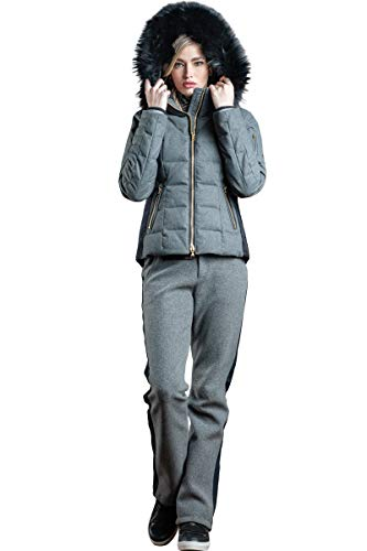 Bogner Sports Uma-D Down Wool Ski Jacket with Black Finnraccoon Fur Hood Trim (Charcoal Gray, 6)