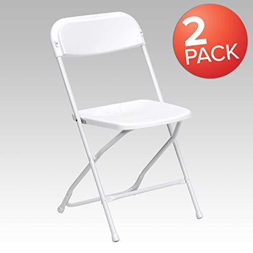 . HERCULES Series 650 lb. Capacity Premium White Plastic Folding Chair ()