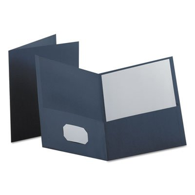 Oxford Twin-Pocket Portfolio, Embossed Leather Grain Paper, Dark Blue ()