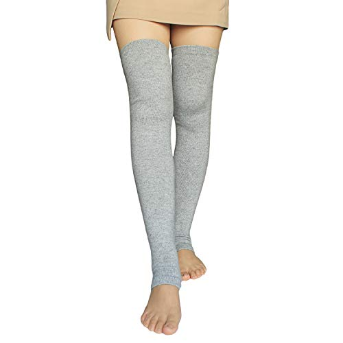 Share Maison Women's Cashmere Wool Winter Warm Knitted Over Knee High Boots Long Socks Leg Warmers (10-Light Grey)