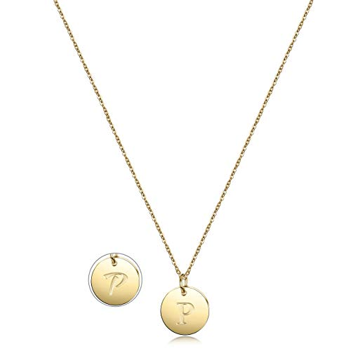 Disc Necklace Charm Initial (JINBAOYING Initial Necklace Gold Plated Round Disc Double Side Engraved Adjustable Personalized Letter Pendant Enhancers)