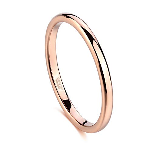 Greenpod 2mm Thin Tungsten Wedding Bands for Women Rose Gold Slim Domed Engagement Promise Ring Comfort Fit Size 11.5