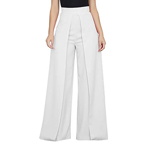 VEZAD Women's High Waist Pants Fashion Solid Color Zipper Loose Wide Long Trousers ()