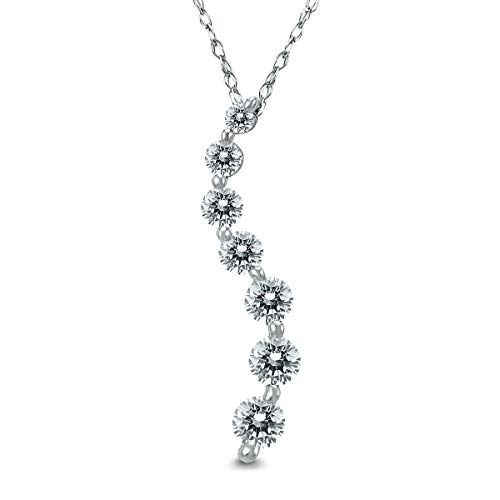 Diamond Prong Journey Pendant - AGS Certified 1/2 Carat TW Diamond Journey Pendant in 10K White Gold (K-L Color, I2-I3 Clarity)