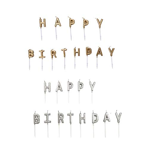 Chris.W Happy Birthday Glitter Letter Candles Cake Topper, Kids Party Favors, 2 Sets(Gold and Silver) -