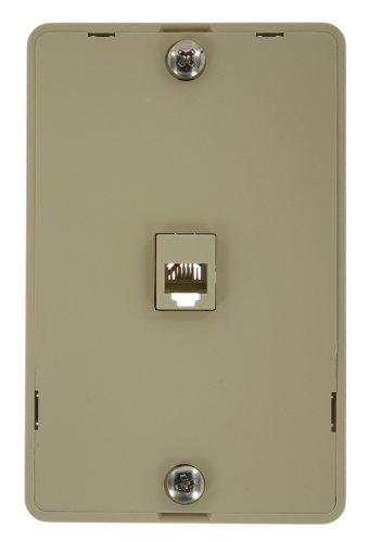 Leviton 40914-I Telephone Wall Phone Jack, 6P4C, Screw Terminal, Ivory -