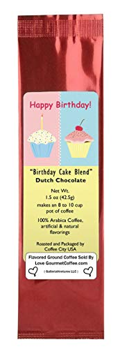Happy Birthday Dutch Chocolate Birthday Cake Blend Flavored Ground Gourmet Coffee ()