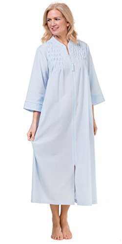 Miss Seersucker Elaine - Miss Elaine Women's Seersucker Long Zipper Robe, Blue, Small