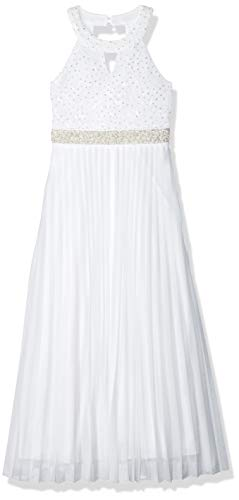 Speechless Girls' Big 7-16 Tween Full-Length Pleated Maxi Dress with Neck Cut Out, White 16 ()