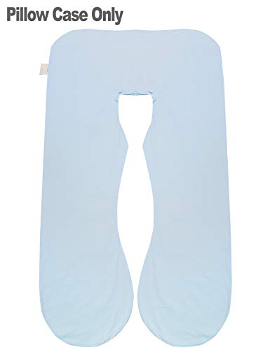 KWLET Pregnancy Pillow Cover/U Shaped Pillow Cover/Pregnancy Pillow Case/Maternity Pillow Case/Pillowcase with Removable Cotton Cover 57x30 Inch for Pregnancy Pillow Blue