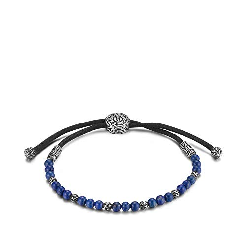 John Hardy Men's Classic Chain Silver Round Beads Pull Through Bracelet on Black Cord with Lapis Lazuli, Size M Adjustable to L (Hardy Bracelet Black John)
