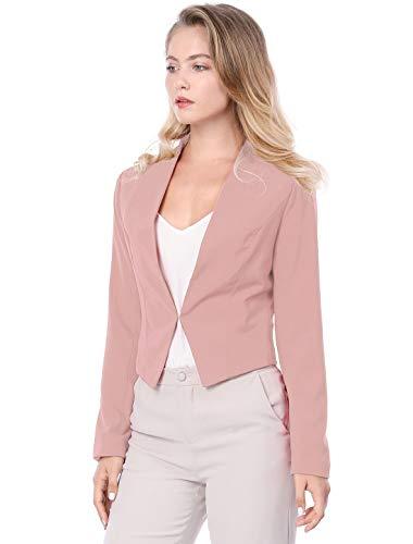 Allegra K Women's Collarless Work Office Business Casual Cropped Blazer 15