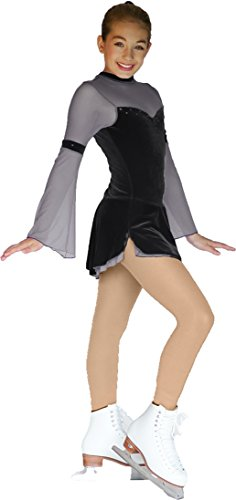 Chloe Noel Figure Skating 2 Layers Skirt Flare Long-Sleeve Velvet Dress DLV16 Black Child Medium