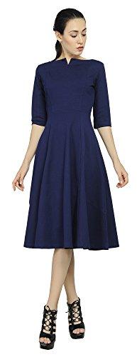 - Marycrafts Women's Fit Flare Tea Midi Dress for Office Business Work 14 Dark Blue
