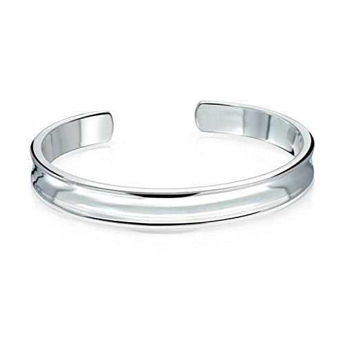 Bling Jewelry Polished Shiny Concave Cuff Bangle Bracelet Stainless Steel