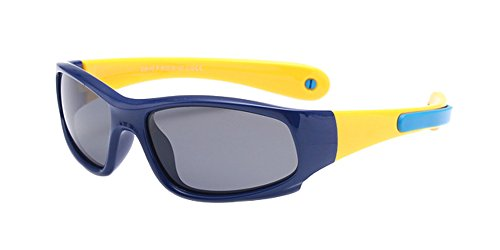 BOZEVON Lunettes de Soleil Polarisées pour Enfants Garçons Filles Monture en caoutchouc flexible Sport Lunettes Bleu profond/Jaune