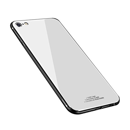 Price comparison product image ANERNAI iPhone 6 Plus Case Tempered Glass Back Cover + Soft TPU Bumper Scratch-Resistant Shock iPhone 6plus(White)