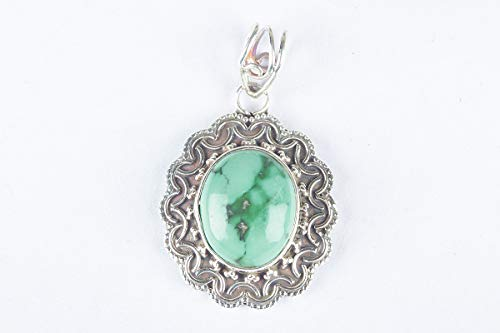 (Natural Turquoise Oval Shape Gemstone Pendant 925 Sterling Silver Birthstone Designer Locket Handmade designer Vintage Unique Style Jewelry)