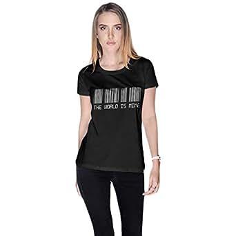Creo Black Cotton Round Neck T-Shirt For Women