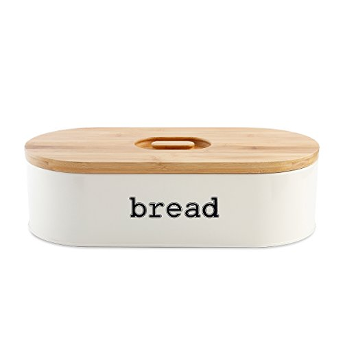 Homelet Bread Box - Vintage Retro Stainless Steel Powder Coated Bread Bin Storage with Bamboo Cutting Board Lid for Kitchen, Cream (Bin Steel Stainless Bread)
