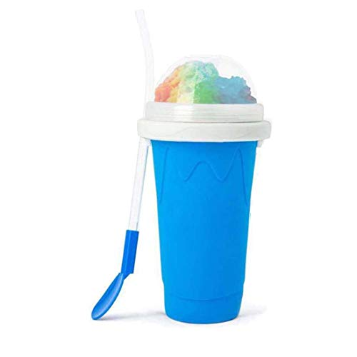 Slushy Maker Ice Cup, DELFINO Travel Portable Double Layer Silica Cup Pinch Cup Hot Summer Cooler Smoothie Silicon Cup…
