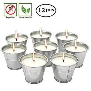 Mini Metal Tin Bucket Citronella Candle Outdoor and Indoor, Set of 12 ()
