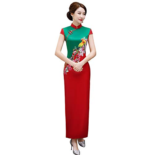 fb03984d40fa4 (上海物語) Shanghai Story コントラストカラー レディース 花柄 人工シルク チャイナドレス 半袖