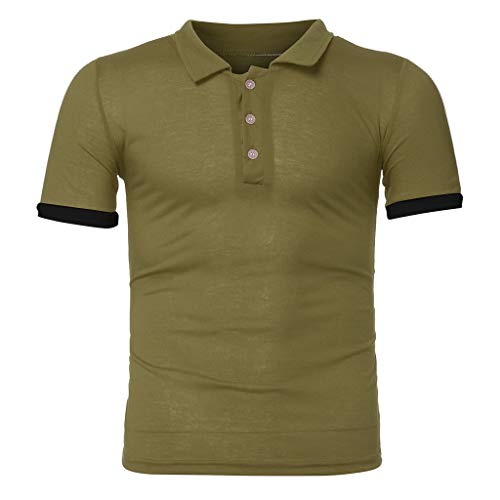 (Duseedik Men's Summer Sets, Leisure Stripe Color Collision Short Sleeve Shorts Sports Thin Tops Pants Suit Army Green)
