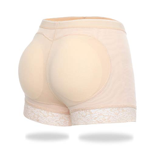 Butt Lifter Padded Panties Hip Enhancer Shapewear for Women Seamless Panty Shaper Lace Boyshorts (Beige, XL)