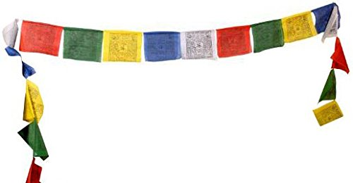 Tibetan Prayer Flag – Large Traditional Design (10 x 10) – Roll of 25 Flags – Handmade in Nepal – Buddhist Flags – Traditional 5 Element Colors