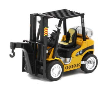 (1:24 Diecast Construction Forklift Hoist Model Cars Boy Truck Toys with Pull Back Function Sound Light for Kids Gift Box B)