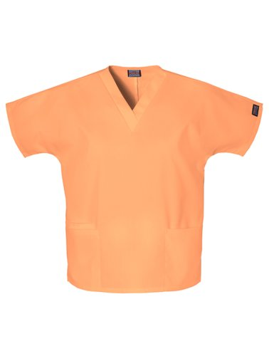 Cherokee Women's V-Neck Scrub Top, Orange Sorbet, 3X-Large