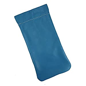 Mens and Womens Leather Eyeglass Holder Eyeglass Case USA Made (Turquoise)