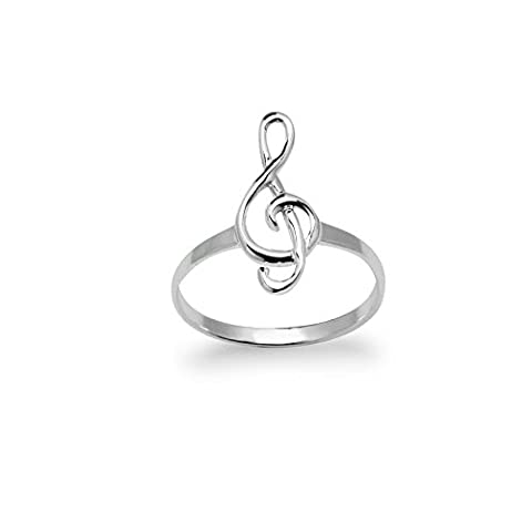 River Island Jewelry - 925 Sterling Silver Unisex Treble Clef Music Note Band Ring - Size 9 (Elegant Music Rings)
