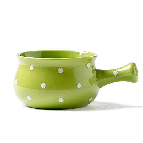 CHOOLD Ceramic Polka Dot One-Handled Soup Bowl Salad Bowl Cereal Bowl Noodle Bowl Dinner Bowl for Kitchen Restaurant,Multi-color -