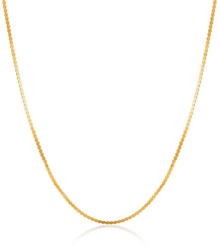 Gold Serpentine Chain (14k Yellow Gold Lightweight Serpentine Chain 0.8mm Chain Necklace, 16