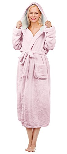 (Tirrinia Women's Long Plush Robe with Hood Sherpa Lined Bathrobe Pink)