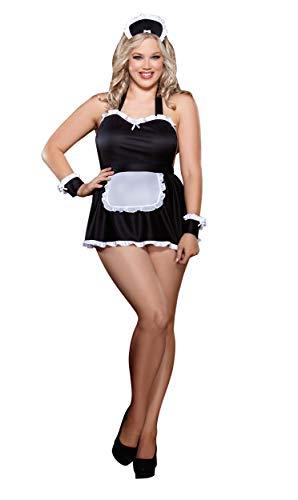 Dreamgirl Women's Plus-Size Maid Me Dirty Babydoll, Black/White, One Size