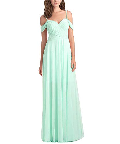 (Women's Off The Shoulder Chiffon Long Plus Size Bridesmaid Dress A Line Wedding Prom Dress Pleated Bodice Mint Green Size 20W)