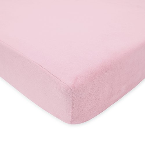 (American Baby Company Heavenly Soft Chenille Fitted Crib Sheet for Standard Crib and Toddler Mattresses, Pink, for Girls)