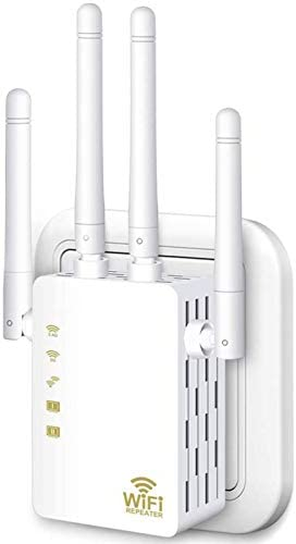 WiFi Range Extender, 1200Mbps Wireless Signal Repeater Booster, Dual Band 2.4G and 5G Expander, 4 Antennas 360° Full Coverage, Extend WiFi Signal to Smart Home & Alexa Devices(DU1200M) (White)