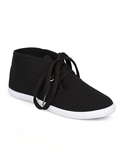 Refresh CH03 Women Canvas Round Toe Lace Up Chukka Flat Sneaker – Black / White (Size: 8.5)