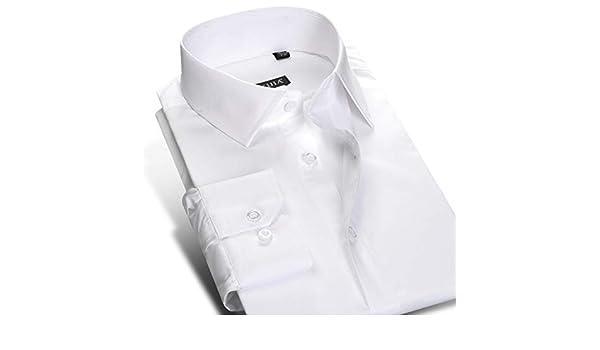MKDLJY Camisas Slim Fit Spread Collar de Hombre Camisa de Vestir Blanca Sólido Manga Larga Sin Plancha Premium 100% algodón Camisas Formales de Oficina de Trabajo de Negocios: Amazon.es: Deportes y aire