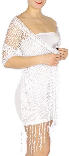 Evening Shawls And Wraps for Dresses, Lightweight Metallic Fishnet Scarf, Mini frills shawl, ()