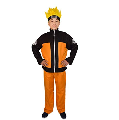 IFdistrict Anime Naruto Shippuden Uzumaki Naruto Halloween Cosplay Costume Full Suit (XL) Orange