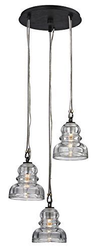Troy Lighting F6053 Menlo Park 3 Pendant Cluster Historic Clear Pressed Glass Shade, 3-Light, Deep - Menlo Stores