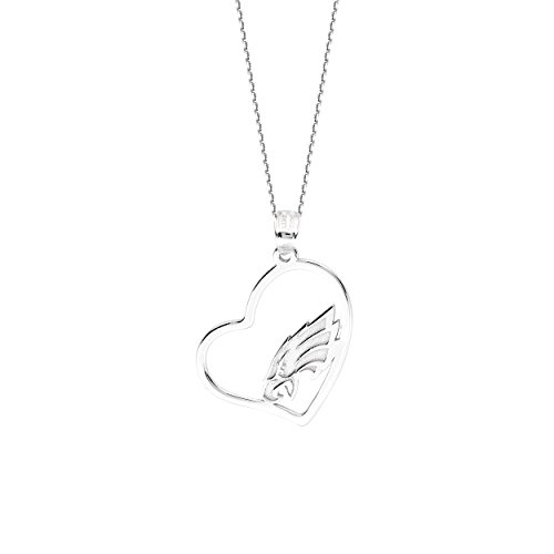 Philadelphia Eagles Necklace Licensed NFL Team Heart Pendant Sterling Silver (Cut Eagle Pendant Out)