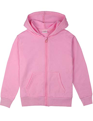 Cotton Solid Pockets Zipper - Spring&Gege Youth Solid Full Zipper Hoodies Soft Kids Hooded Sweatshirt for Boys and Girls Pink Size 11-12 Years