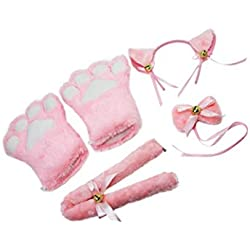 Lvcky Cat Cosplay Set Plush Claw Gloves Cat Kitten Ears Tail Collar Paws Cute Adorable Party Costume Set for Women Girl (Pink)